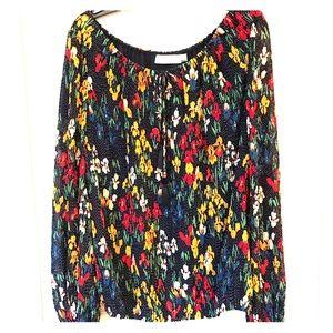 Tory Burch flowered blouse w/ tie neckline size XS